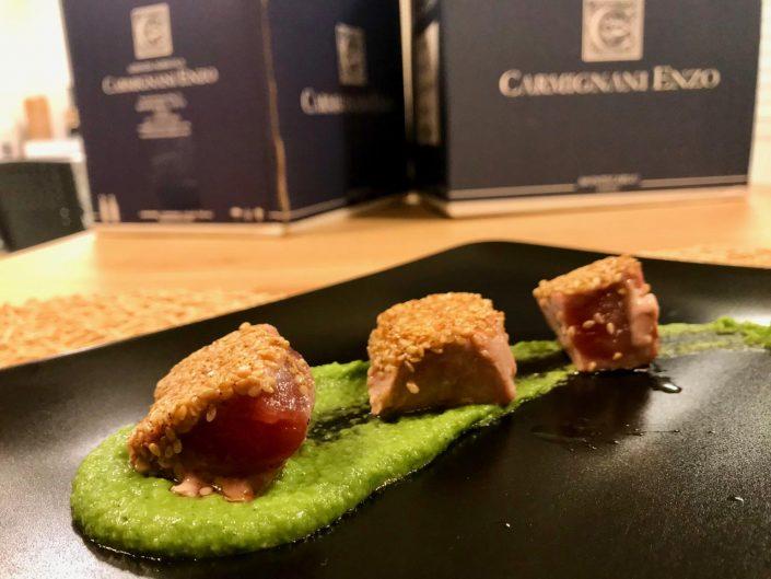 a tutto tonno cena a tema con vini Az Agricola Enzo Carmignani